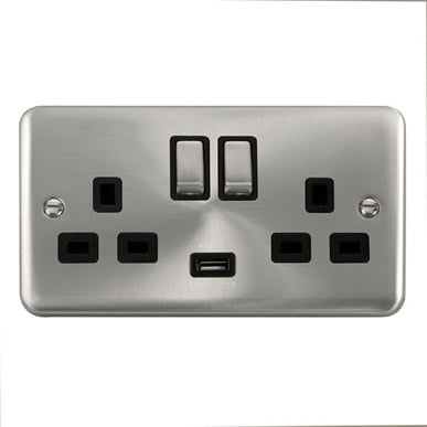 Curved Satin Chrome 13A Ingot 2 Gang Switched Sockets With 2.1A USB Outlet (Twin Earth) - Black Trim Trim- Black Trim