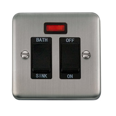 Curved Stainless Steel 20A DP Sink/Bath Switch With Neon - Black - Black