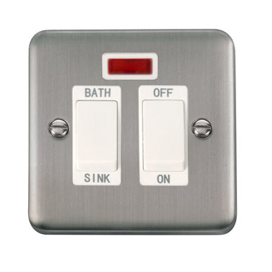 Curved Stainless Steel 20A DP Sink/Bath Switch With Neon - White - White