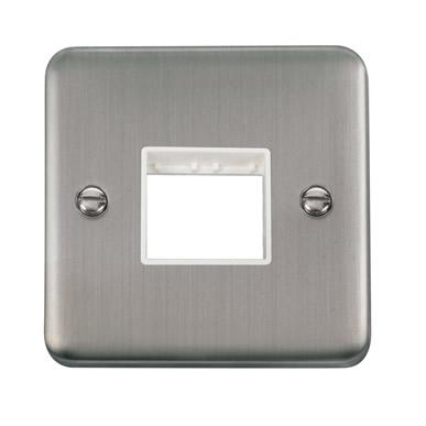 Curved Stainless Steel 1 Gang MiniGrid® Unfurnished Plate - 2 Apertures - White Trim - White Trim