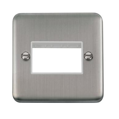 Curved Stainless Steel 1 Gang MiniGrid® Unfurnished Plate - 3 Apertures - White Trim - White Trim
