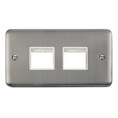 Curved Stainless Steel 2 Gang MiniGrid® Unfurnished Plate - 2 x 2 Apertures - White Trim - White Trim