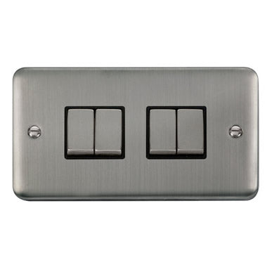Curved Stainless Steel 10AX Ingot 4 Gang 2 Way Plate Switch - Black - Black