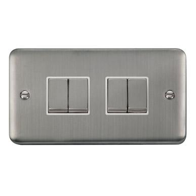 Curved Stainless Steel 10AX Ingot 4 Gang 2 Way Plate Switch - White Trim - White Trim