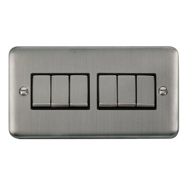 Curved Stainless Steel 10AX Ingot 6 Gang 2 Way Plate Switch - Black Trim Trim- Black Trim