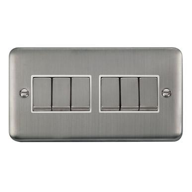 Curved Stainless Steel 10AX Ingot 6 Gang 2 Way Plate Switch - White Trim - White Trim