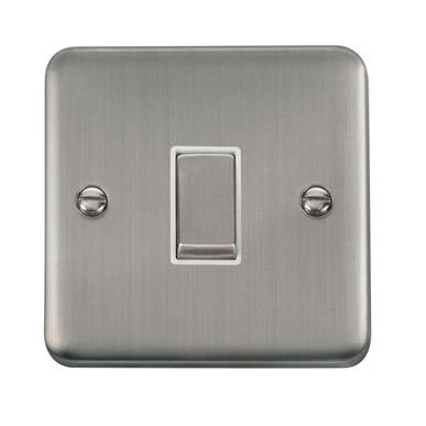 Curved Stainless Steel 10AX Ingot 1 Gang Intermediate Plate Switch - White Trim - White Trim