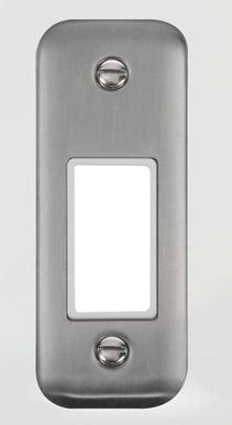 Curved Stainless Steel 1 Gang MiniGrid® Unfurnished Architrave Plate - 1 Aperture - White Trim - White Trim
