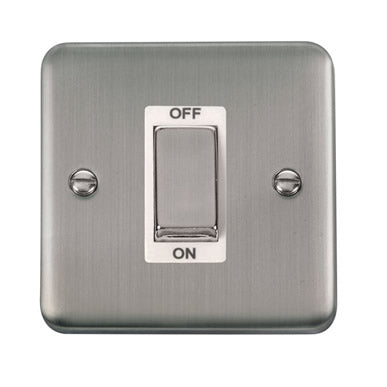 Curved Stainless Steel 45A Ingot 1 Gang DP Switch - White - White
