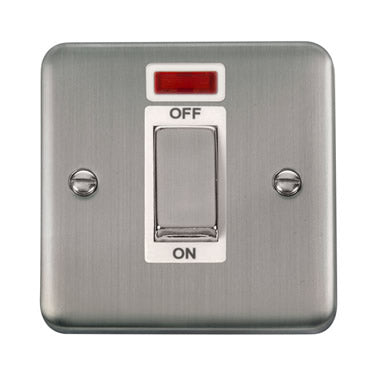 Curved Stainless Steel 45A Ingot 1 Gang DP Switch With Neon - White - White