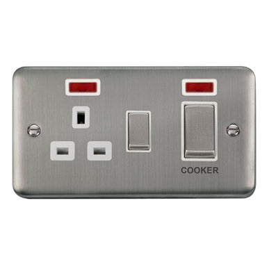Curved Stainless Steel 45A Ingot 2 Gang DP Switch With 13A DP Switched Socket & Neons - White - White