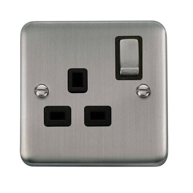 Curved Stainless Steel 13A Ingot 1 Gang DP Switched Socket - Black Trim Trim- Black Trim