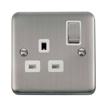 Curved Stainless Steel 13A Ingot 1 Gang DP Switched Socket - White - White