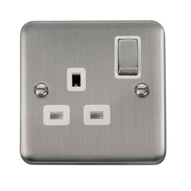 Curved Stainless Steel 13A Ingot 1 Gang DP Switched Socket - White Trim - White Trim