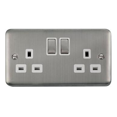 Curved Stainless Steel 13A Ingot 2 Gang DP Switched Socket - White Trim - White Trim