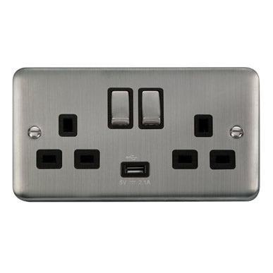 Curved Stainless Steel 13A Ingot 2 Gang Switched Sockets With 2.1A USB Outlet (Twin Earth) - Black Trim Trim- Black Trim