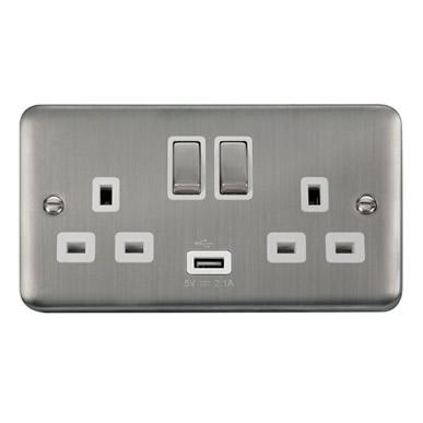 Curved Stainless Steel 13A Ingot 2 Gang Switched Sockets With 2.1A USB Outlet (Twin Earth) - White Trim - White Trim