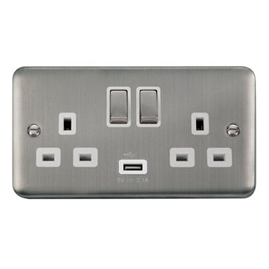 Curved Stainless Steel 13A Ingot 2 Gang Switched Sockets With 2.1A USB Outlet (Twin Earth) - White - White