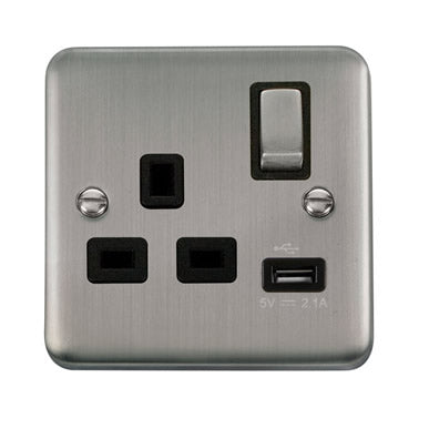 Curved Stainless Steel 13A Ingot 1 Gang Switched Socket With 2.1A USB Outlet - Black - Black
