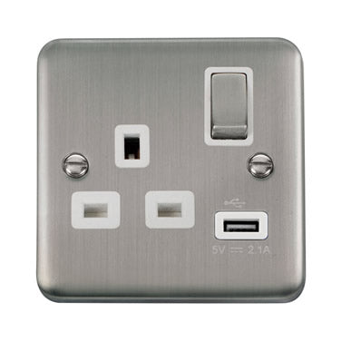 Curved Stainless Steel 13A Ingot 1 Gang Switched Socket With 2.1A USB Outlet - White - White