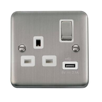 Curved Stainless Steel 13A Ingot 1 Gang Switched Socket With 2.1A USB Outlet - White Trim - White Trim