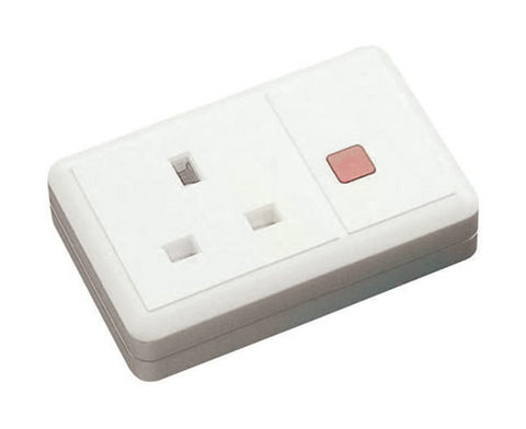 13A 1 Gang Trailing Socket + Neon - White