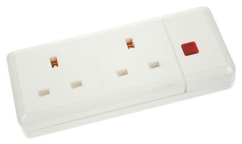 13A 2 Gang Trailing Socket + Neon - White