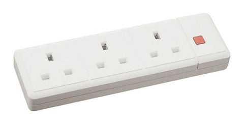 13A 3 Gang Trailing Socket + Neon - White