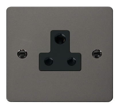 Flat Plate Black Nickel 5A Round Pin Socket  - Black