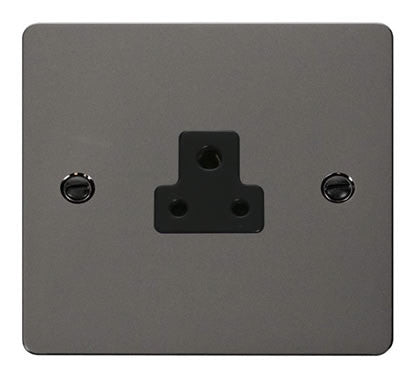 Flat Plate Black Nickel 2A Round Pin Socket  - Black