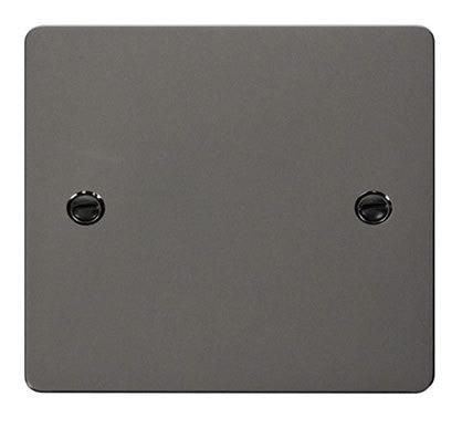 Flat Plate Black Nickel 1 Gang Blank Plate - Black