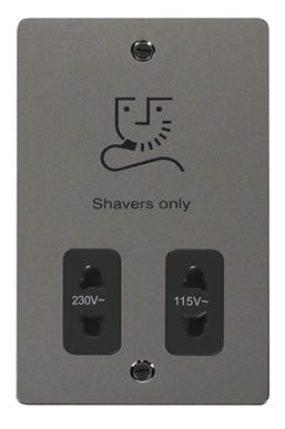 Flat Plate Black Nickel 115/230v Shaver Socket - Black