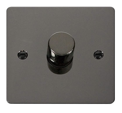 Flat Plate Black Nickel 1 Gang 2 Way 400w Dimmer Switch - Black