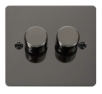 Flat Plate Black Nickel 2 Gang 2 Way 400w Dimmer Switch - Black