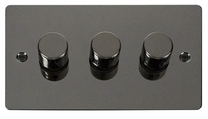 Flat Plate Black Nickel 3 Gang 2 Way 400w Dimmer Switch - Black