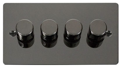 Flat Plate Black Nickel 4 Gang 2 Way 400w Dimmer Switch - Black