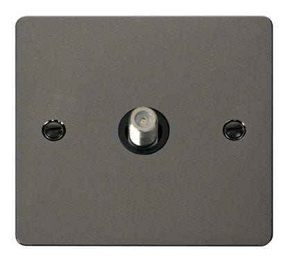 Flat Plate Black Nickel 1 Gang Satellite Socket  - Black
