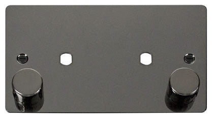 Flat Plate Black Nickel 2 Gang Plate 2 Module (1630w Max) - Black