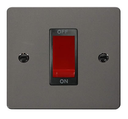 Flat Plate Black Nickel 1 Gang 45A DP Switch  - Black