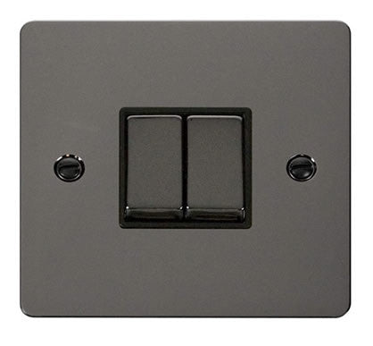 Flat Plate Black Nickel Ingot 10AX 2 Gang 2 Way Switch  - Black