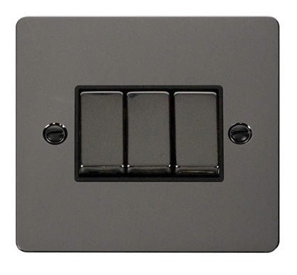 Flat Plate Black Nickel Ingot 10AX 3 Gang 2 Way Switch   - Black