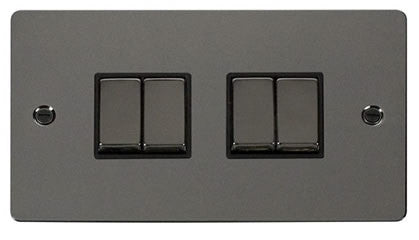 Flat Plate Black Nickel Ingot 10AX 4 Gang 2 Way Switch  - Black