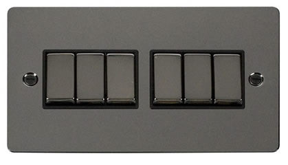 Flat Plate Black Nickel Ingot 10AX 6 Gang 2 Way Switch  - Black
