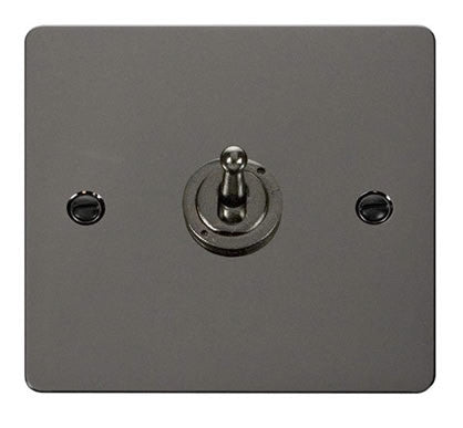 Flat Plate Black Nickel 10AX 1 Gang 2 Way Toggle Switch - Black