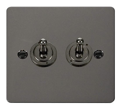 Flat Plate Black Nickel 10AX 2 Gang 2 Way Toggle  switch - Black
