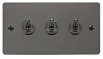 Flat Plate Black Nickel 10AX 3 Gang 2 Way Toggle  switch - Black