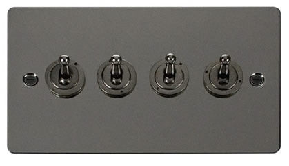 Flat Plate Black Nickel 10AX 4 Gang 2 Way Toggle  switch - Black
