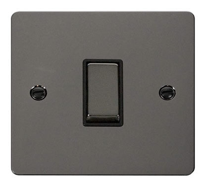Flat Plate Black Nickel Ingot 10AX 1 Gang Intermediate Switch  - Black