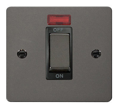 Flat Plate Black Nickel Ingot 1 Gang 45A DP Switch With Neon - Black