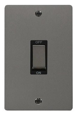 Flat Plate Black Nickel Ingot 2 Gang 45A DP Switch - Black